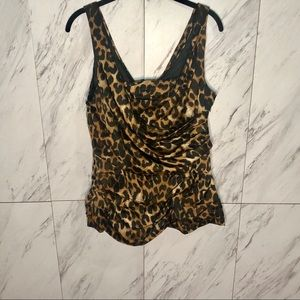 Express Leopard Cheetah Print Draped Blouse SZ L